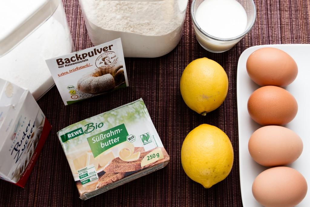 Zutaten für den Zitronenkuchen